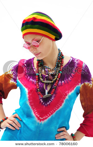 Beautiful Young Woman Wearing Rastafarian Hat And Pink Glasses  a30b9d5f86b4